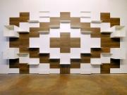 shnel living room interior design retail shop fitting shelves cabinets wood oak waiting area
